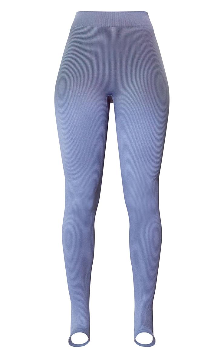 Blue Structured Contour Rib Stirrup Leggings 5