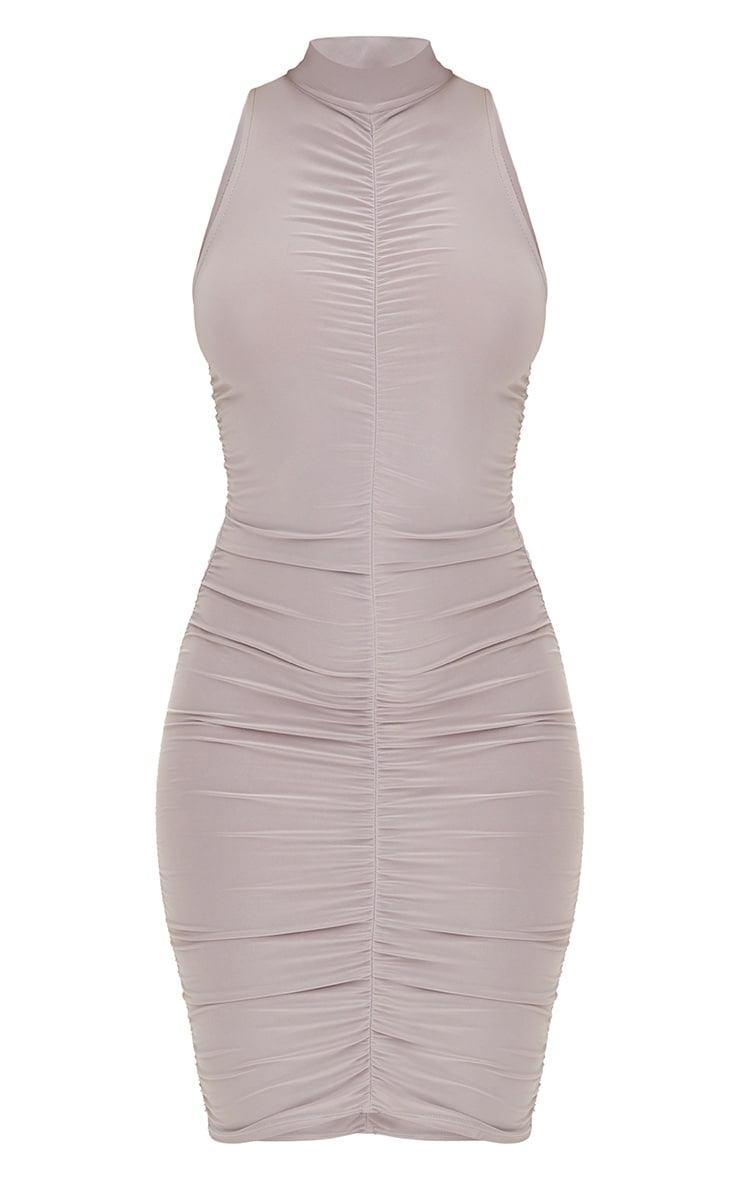 Ice Grey High Neck Sleeveless Ruched Slinky Bodycon Dress 3