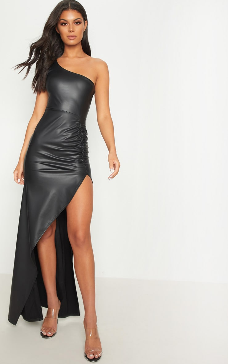 Black PU One Shoulder Ruched Split Leg Maxi Dress 1