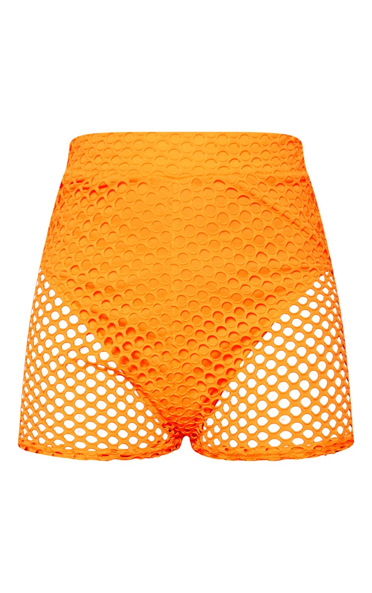 Neon Orange Fishnet Hot Pants 3