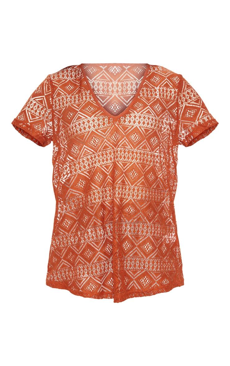 Burnt Orange Cotton Crochet V Neck T-Shirt 3
