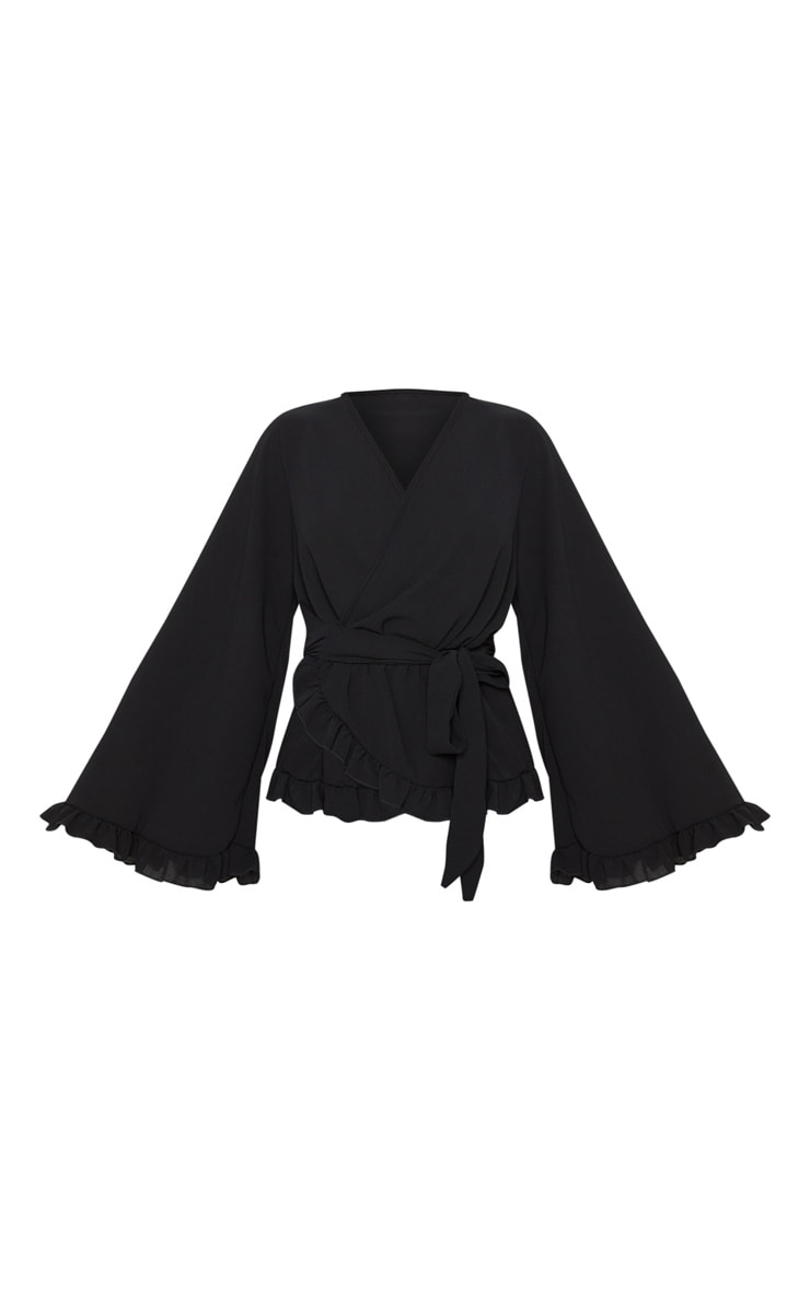 Black Flared Sleeve Frill Blouse 3