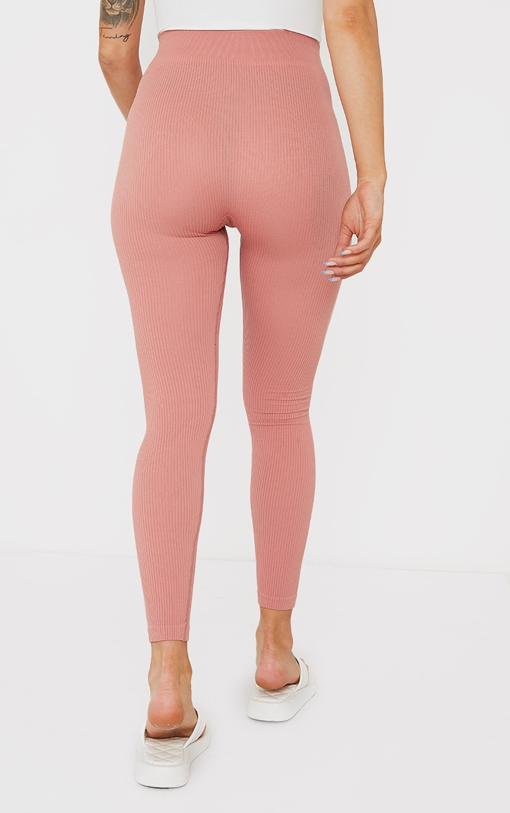 Maternity Clay Contour Bump Support  Ribbed Leggings 3