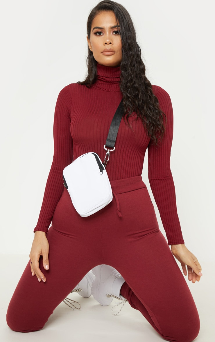 Maroon Rib Roll Neck Long Sleeve Bodysuit 5