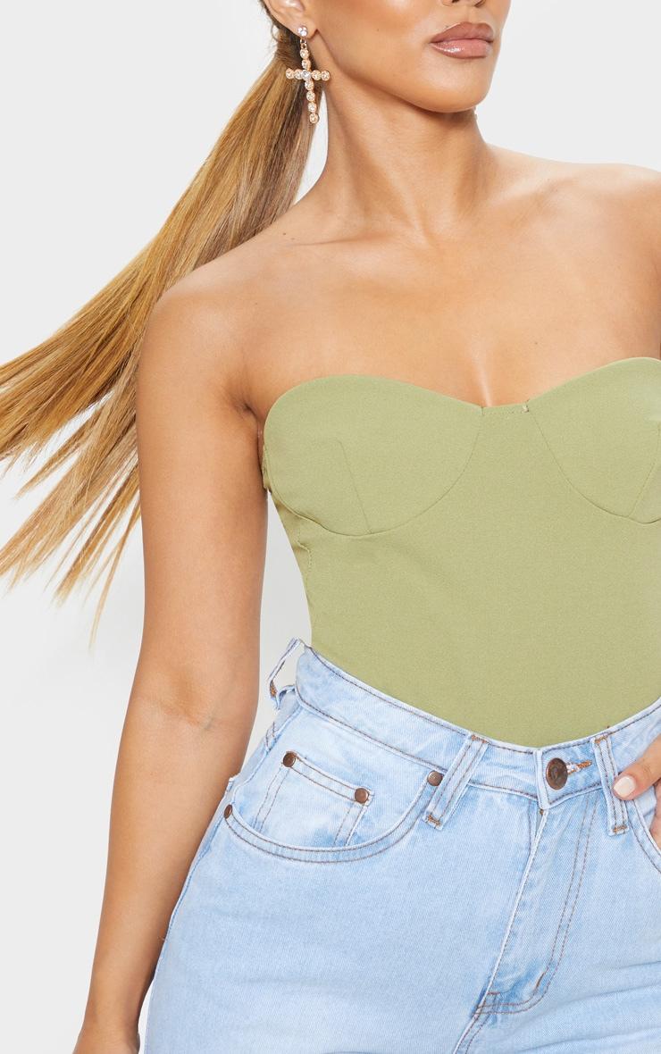 Petite Sage Green Crepe Corset Bodysuit 6