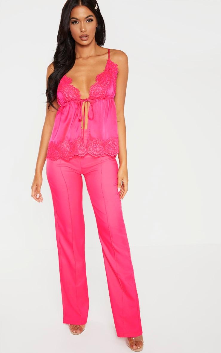 Hot Pink Satin Spilt Front Detail Cami  4