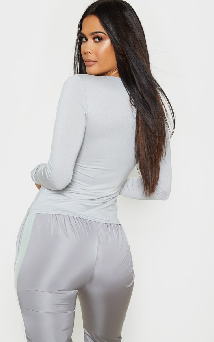 Basic Dove Grey Long Sleeve Fitted T Shirt  2