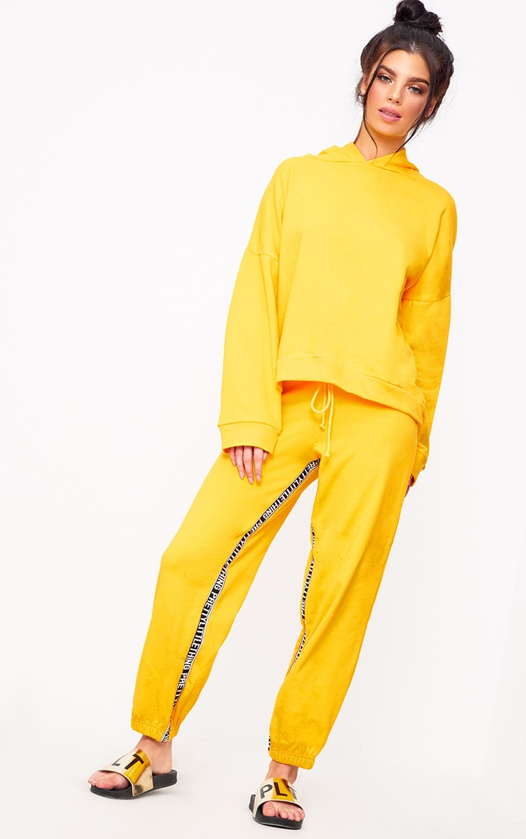 PRETTYLITTLETHING Yellow Branded Joggers