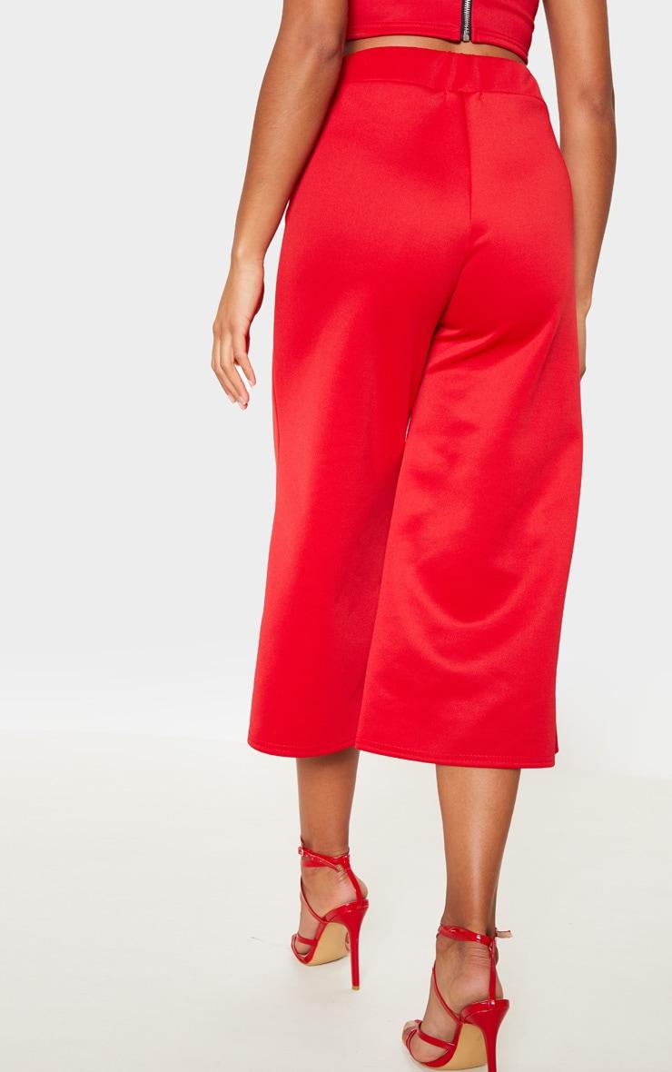 Red Basic High Waisted Scuba Culottes 4