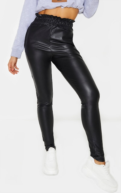 Tall Black PU Ruched Waist Legging