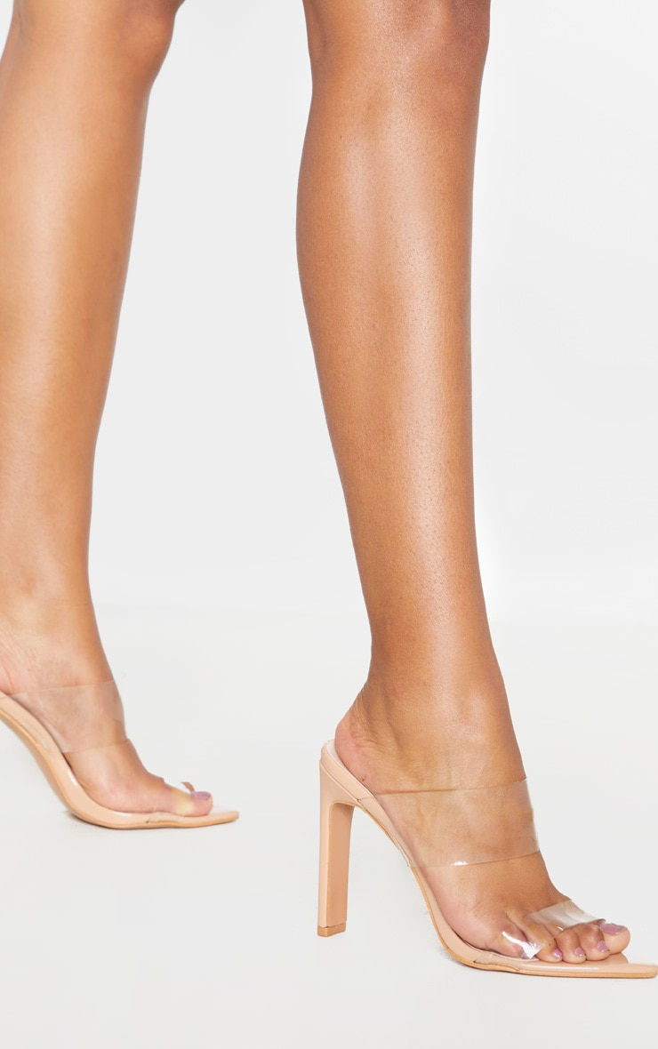 Nude Twin Strap Point Toe Mule Sandal 2