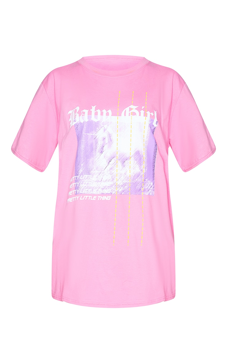 PRETTYLITTLETHING Fuchsia Printed Baby Girl T Shirt 5