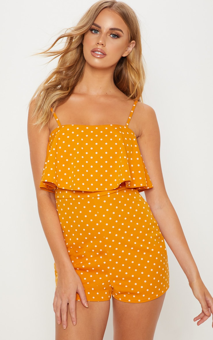 Mustard Frill Layer Polka Dot Playsuit