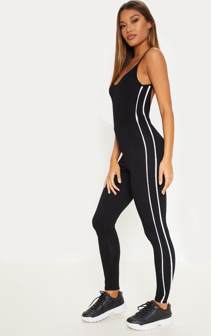 Black Strappy Side Stripe Jumpsuit 4