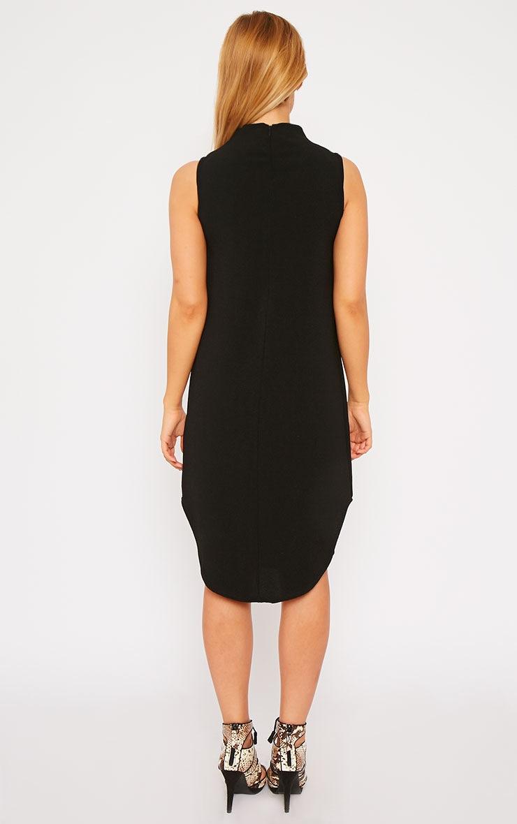 May Black Crepe High Neck Dip Hem Shift Dress 2