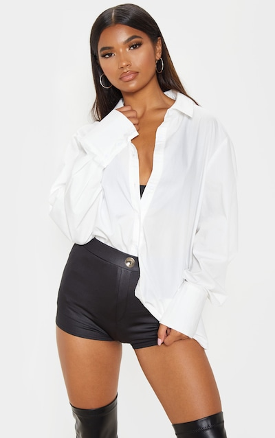Black Wet Look Button Detail Hot Pants