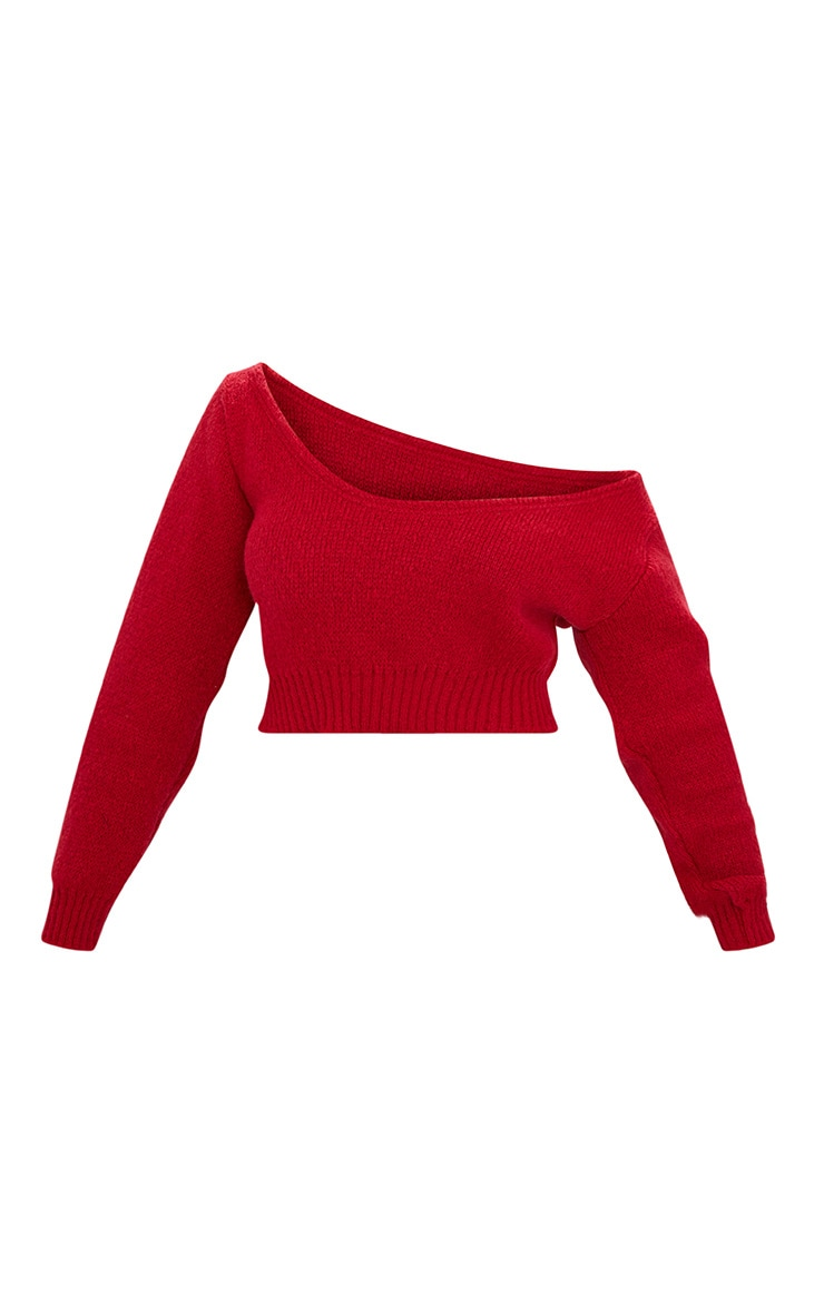 Red V Neck Off Shoulder Soft Knitted Crop Sweater 3
