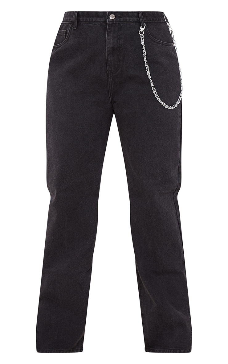 Plus Washed Black Split Hem Jeans 5
