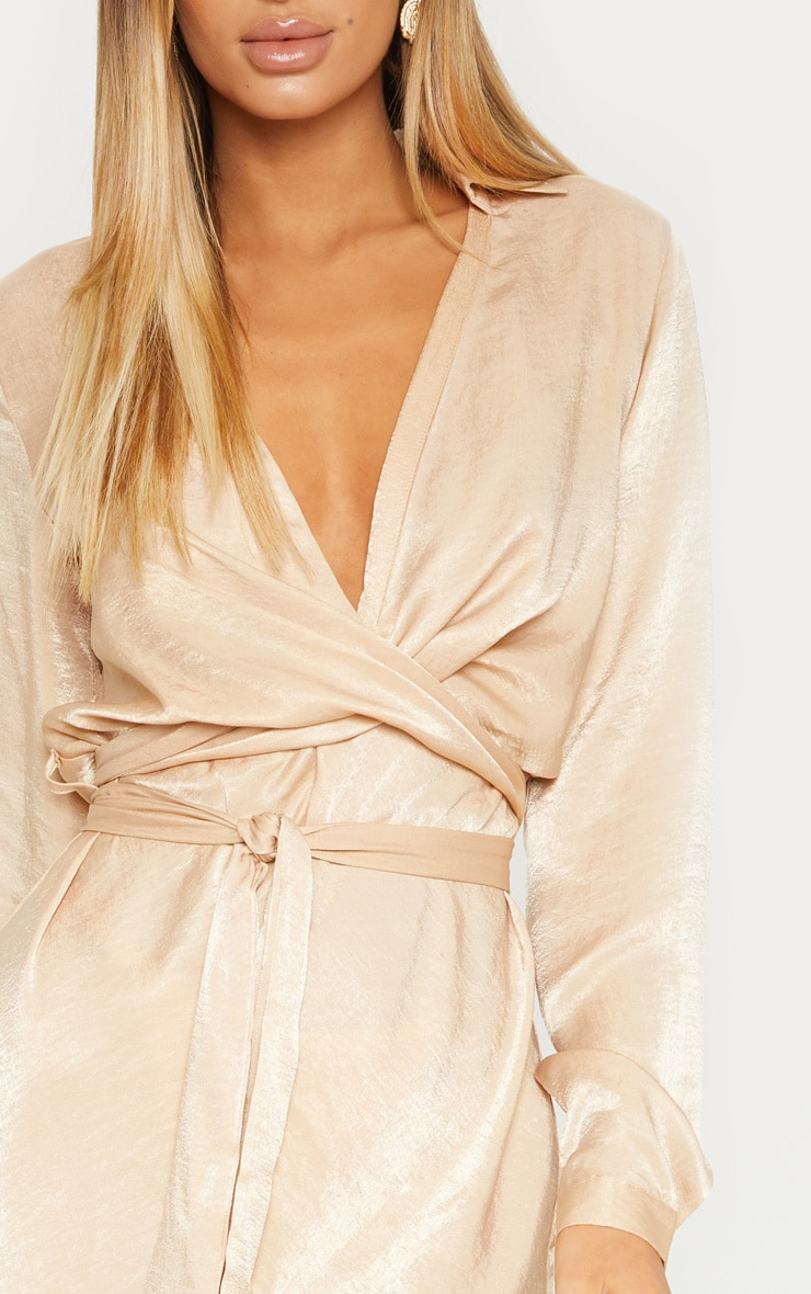 Champagne Satin Wrap Shift Dress 5
