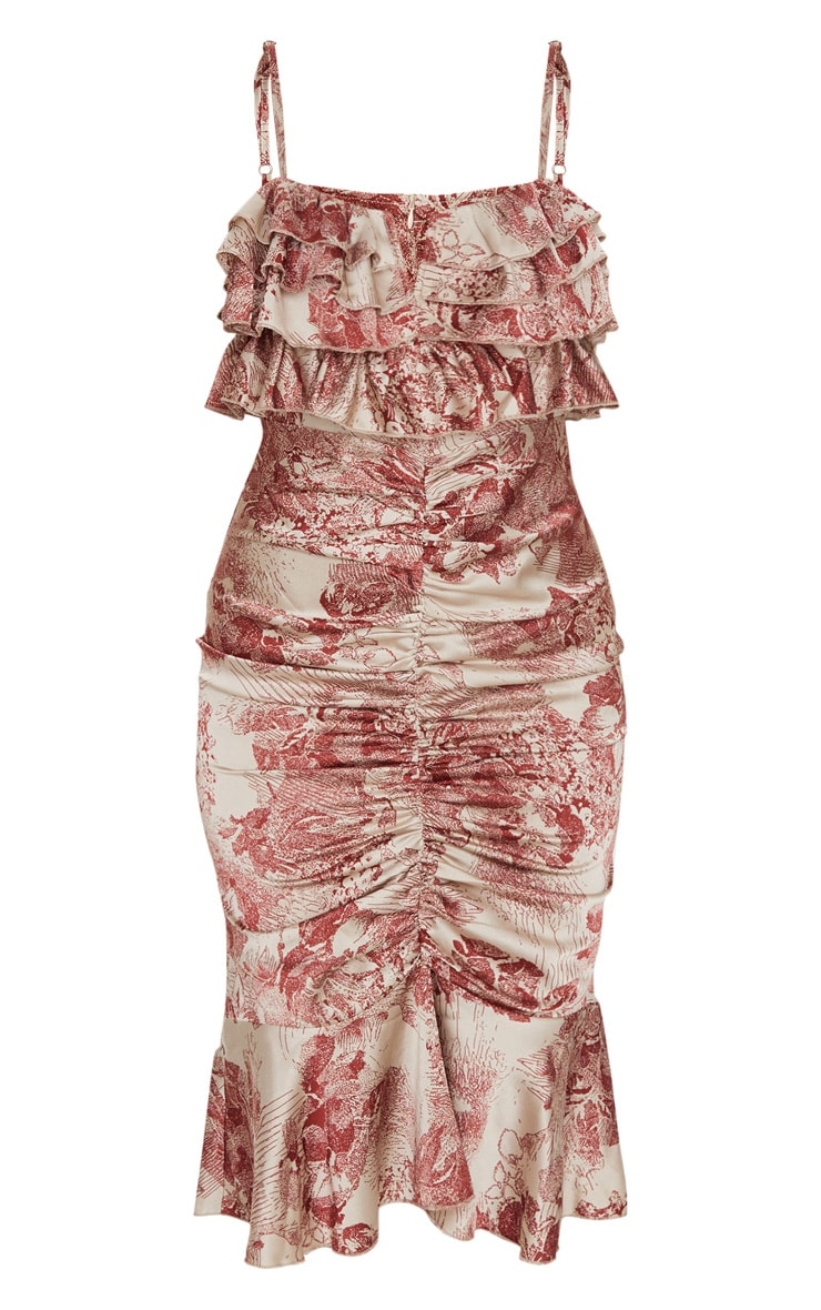 Burgundy Floral Ruffle Detail Gathered Front Midi Dress 5