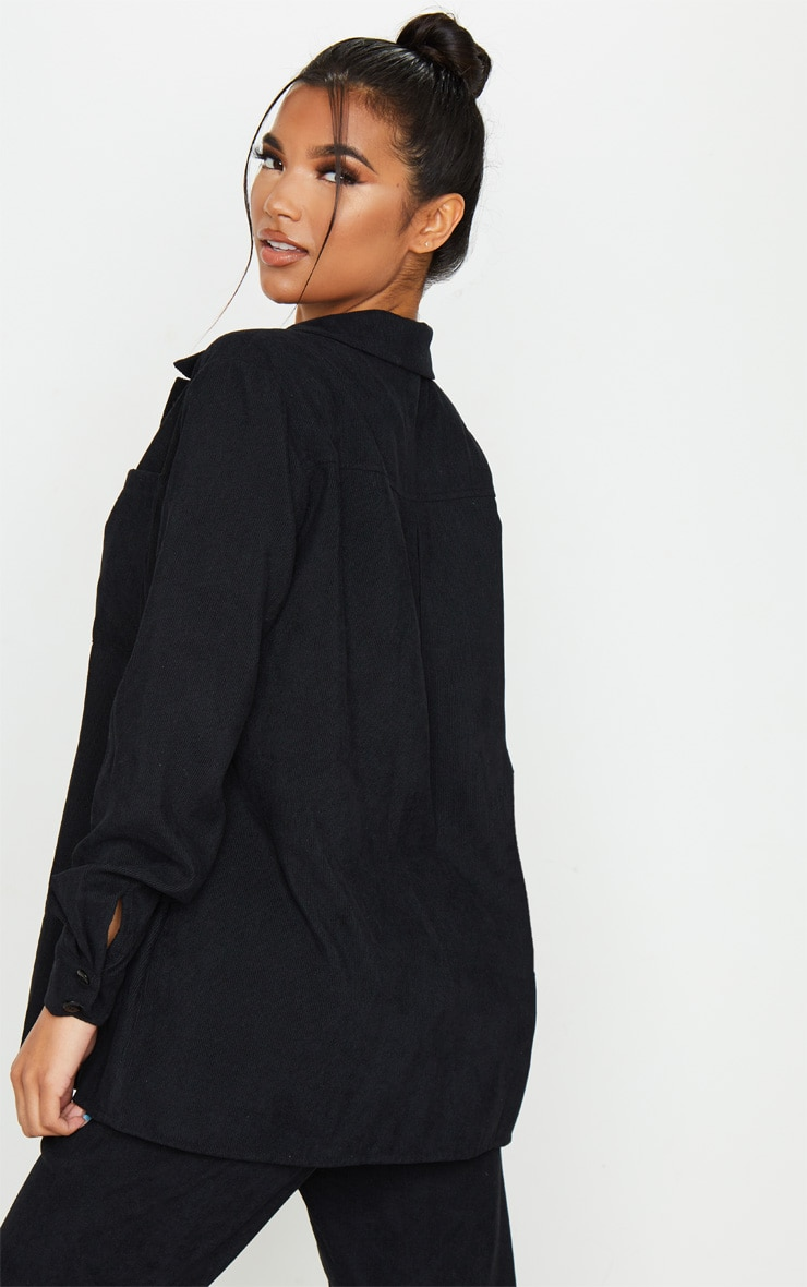 Black Cord Button Front Oversized Shirt 2