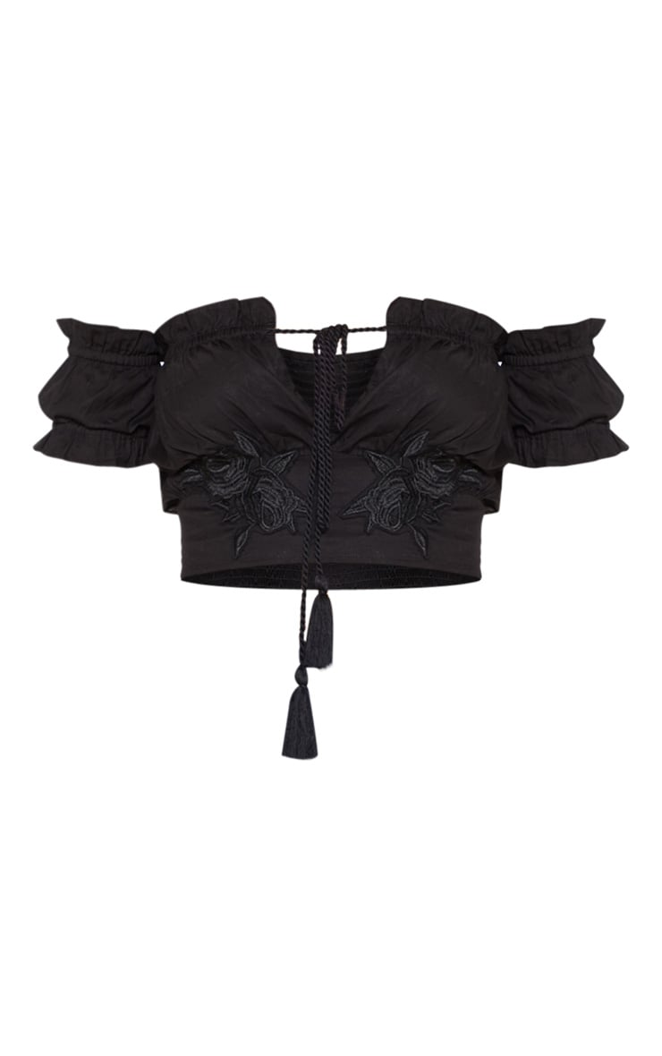 Black Embroidered Ruched Applique Milkmaid Top 3