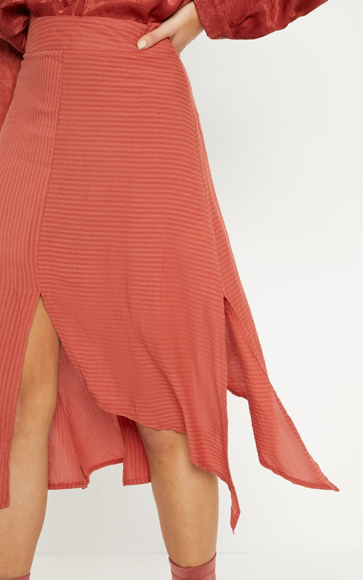 Burnt Orange Casual Midi Skirt 5