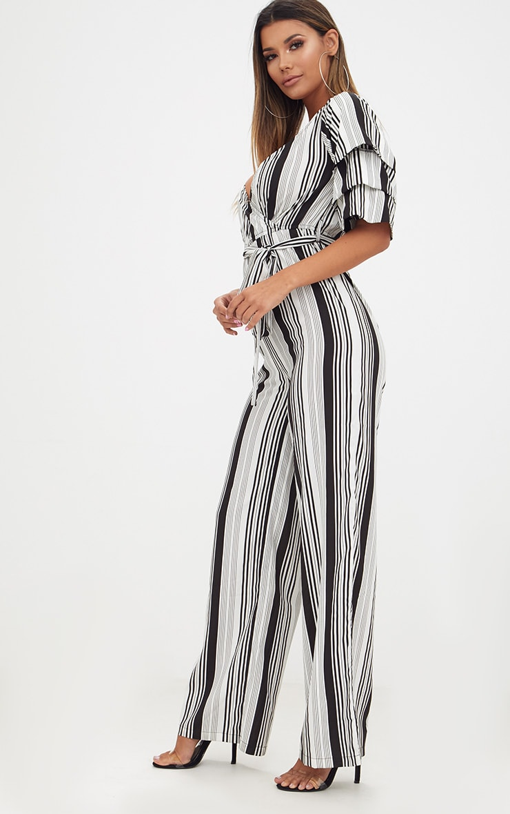 White Striped Frill Sleeve Jumpsuit 4