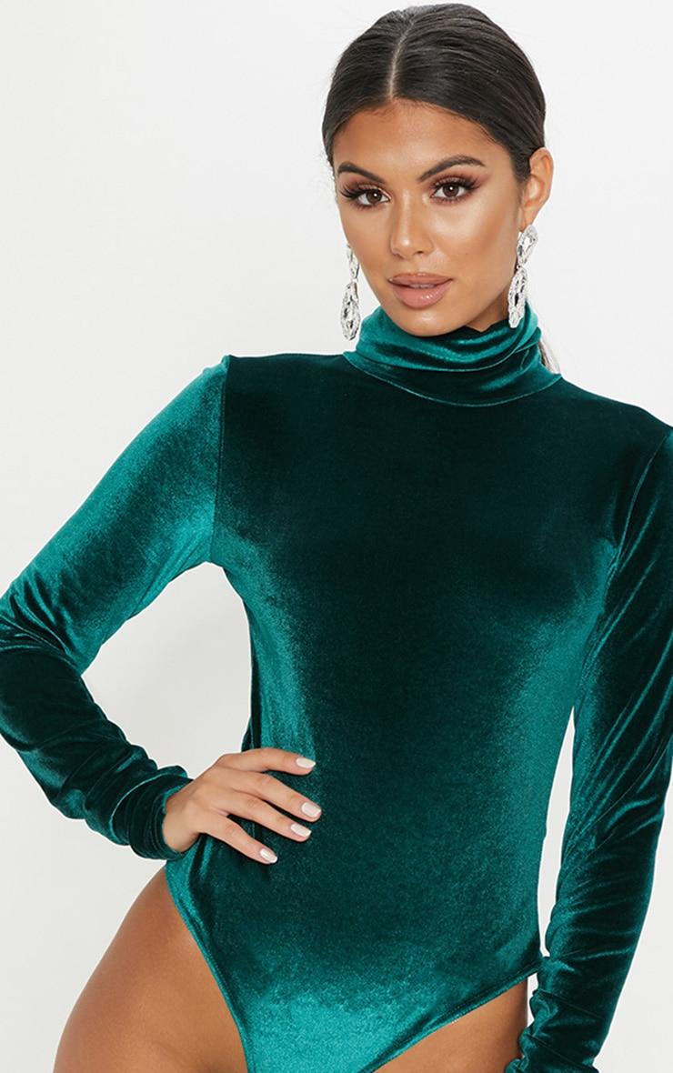 Emerald Velvet Roll Neck Ruched Sleeve Bodysuit 2