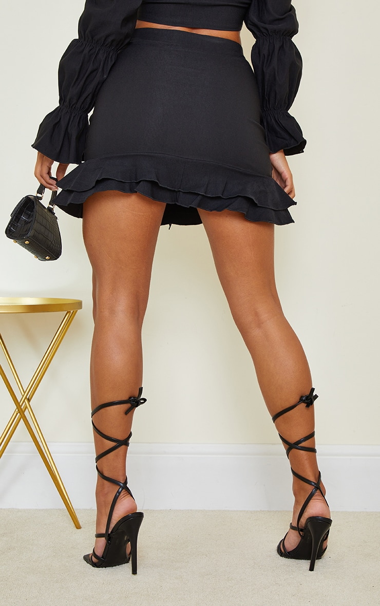 Black Woven Stretch Frill Ruched Front Mini Skirt 3