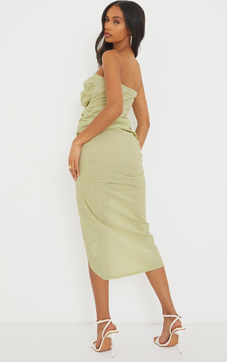 Green Textured Bandeau Cut Out Ruched Midi Dress 2