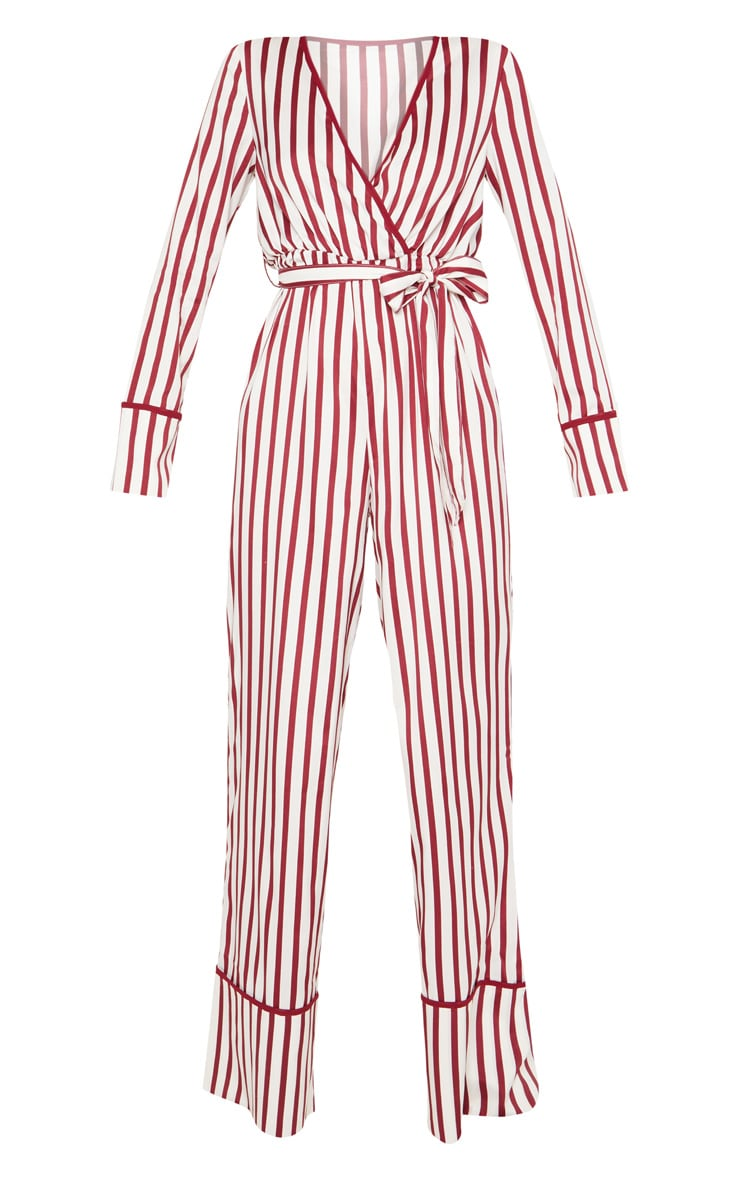 White Multi Stripe Plunge Satin Piped Wide Leg Jumpsuit 3