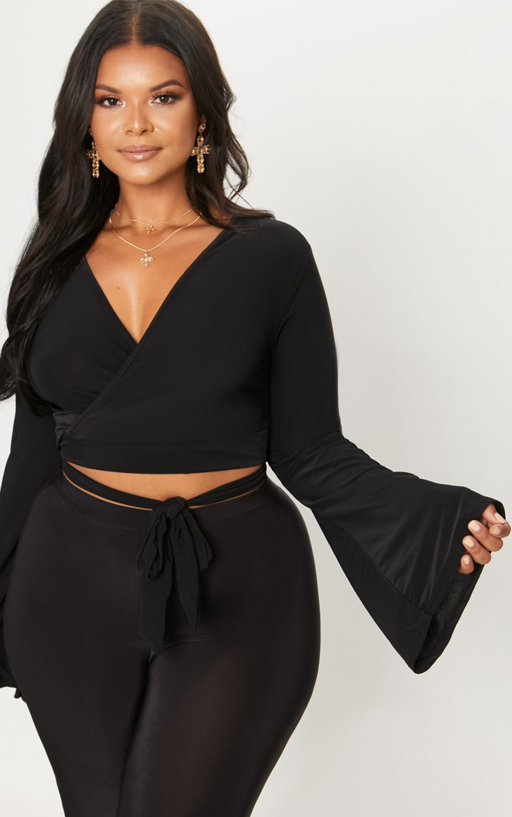 Plus Black Slinky Wrap Waist Crop Top 1