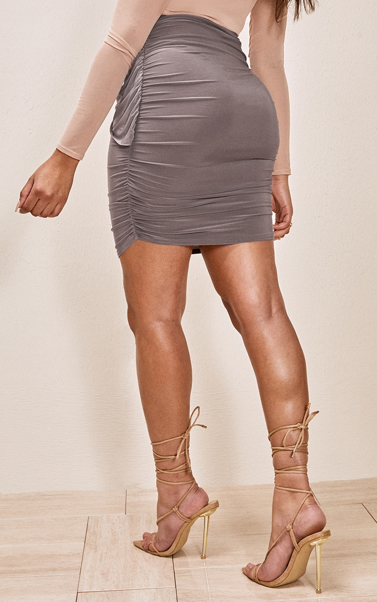 Taupe Slinky Foldover Ruched Mini Skirt 3