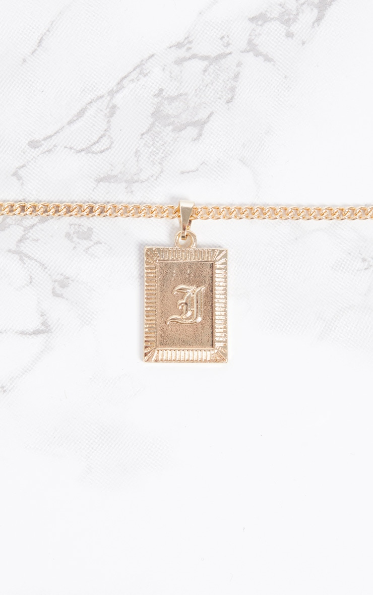 Gold Square Letter I Pendant Necklace 3
