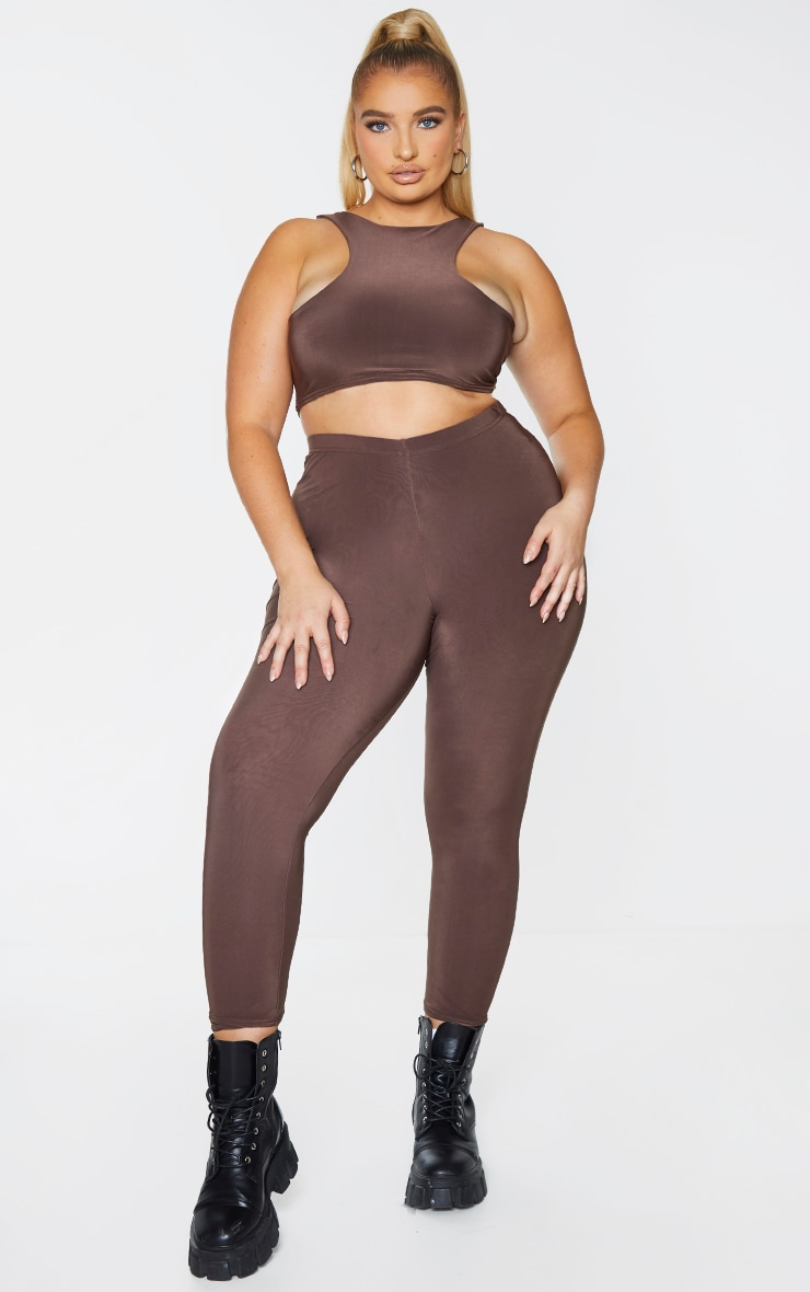 Plus Dark Brown Slinky Racer Neck Crop Top 3
