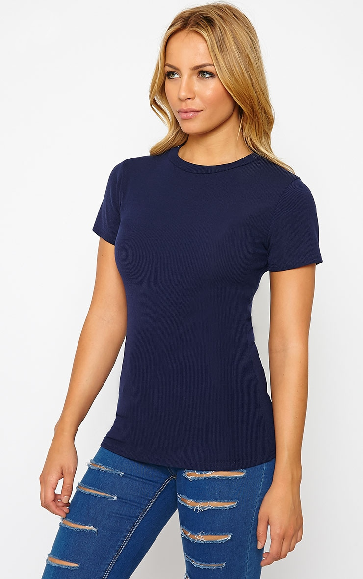 Basic Navy Premium Ribbed Tee 4