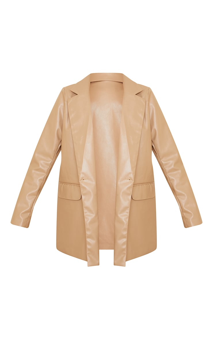 Sand PU Oversized Double Breasted Covered Button Blazer 5
