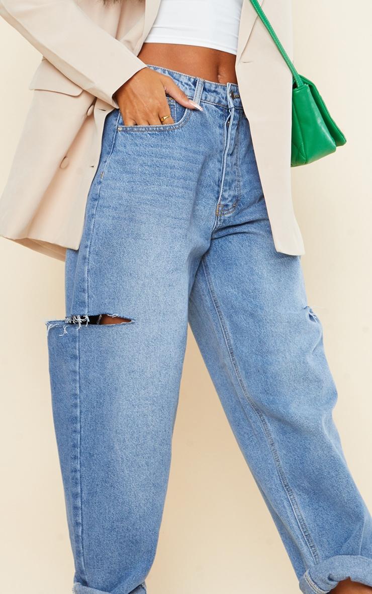 Mid Wash Thigh Split Baggy Boyfriend Jeans 4