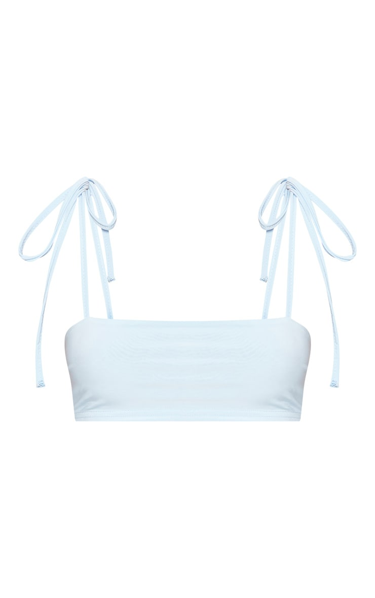 Shape Light Blue Slinky Straight Neck Crop Top 3