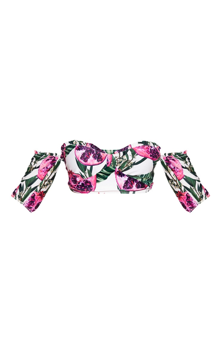 Pink Pomegranate Bandeau Puff Sleeve Bikini Top 6