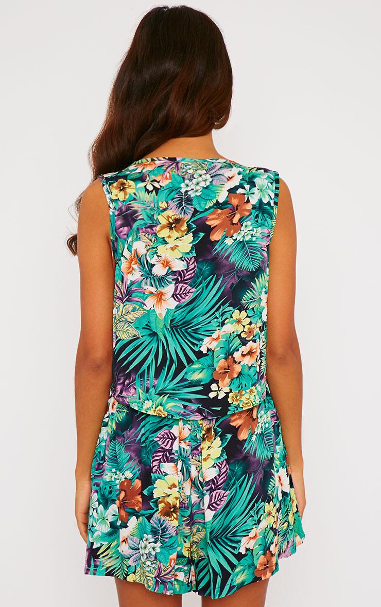 Paige Green Hawaiian Print Button Up Crop Top 2