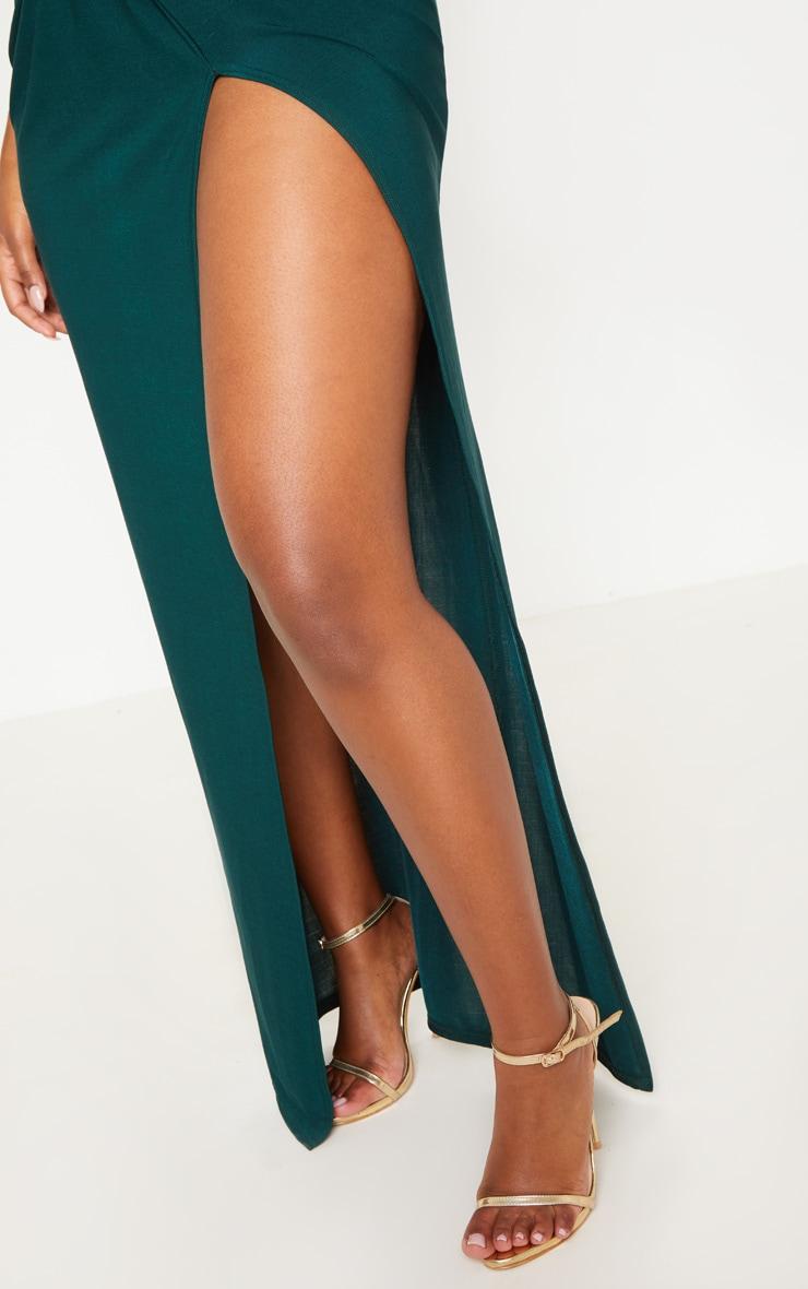 Shape Emerald Green Slinky Wrap Detail Maxi Dress 5
