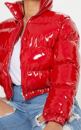 Plus Red Cropped Vinyl Puffer Jacket 5