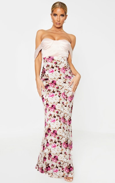 Stone Floral Print Slinky Ruched Detail Maxi Skirt