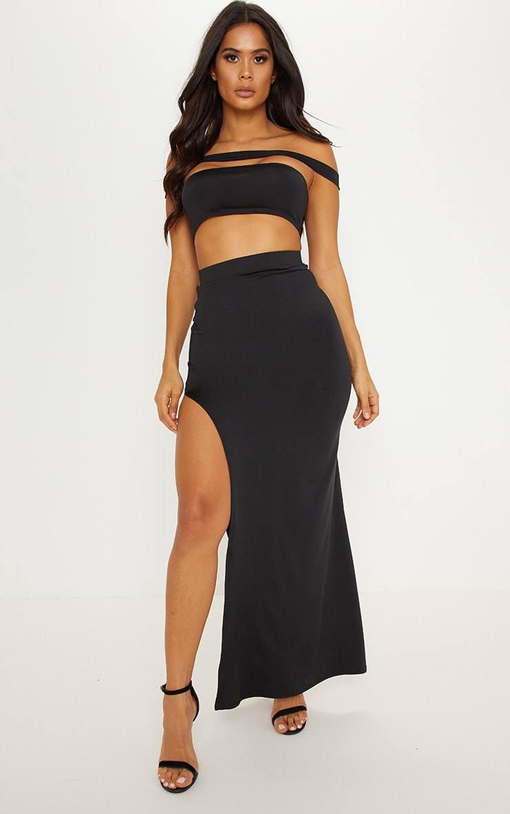 Black Slinky Side Split Maxi Skirt 1