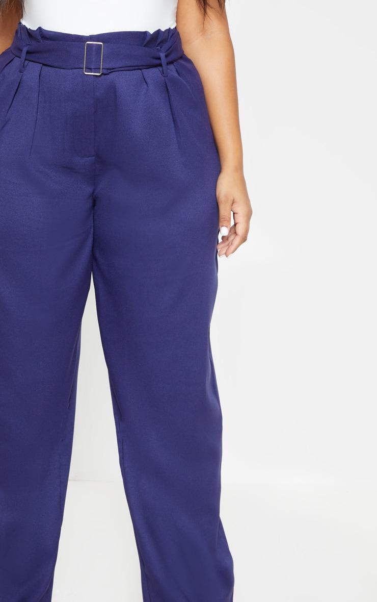 Plus Navy Paper Bag Pleated Wide Leg Trouser 5