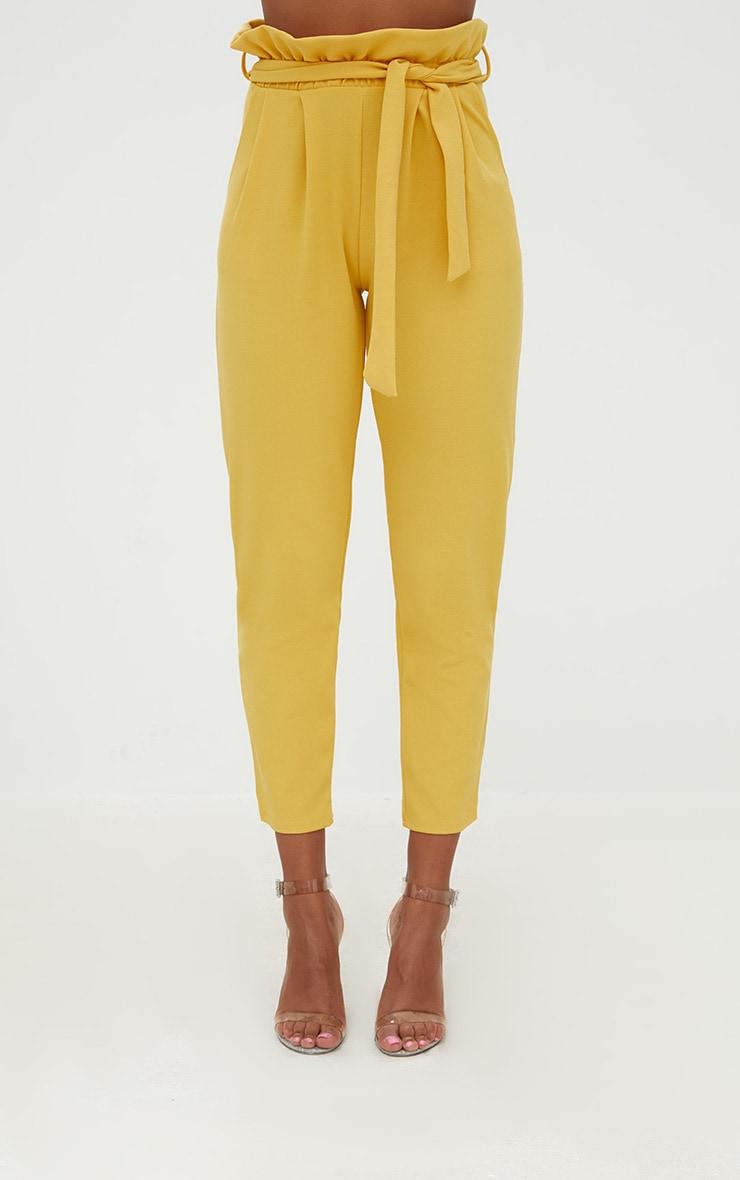 Mustard Paperbag Slim Leg Pants 2