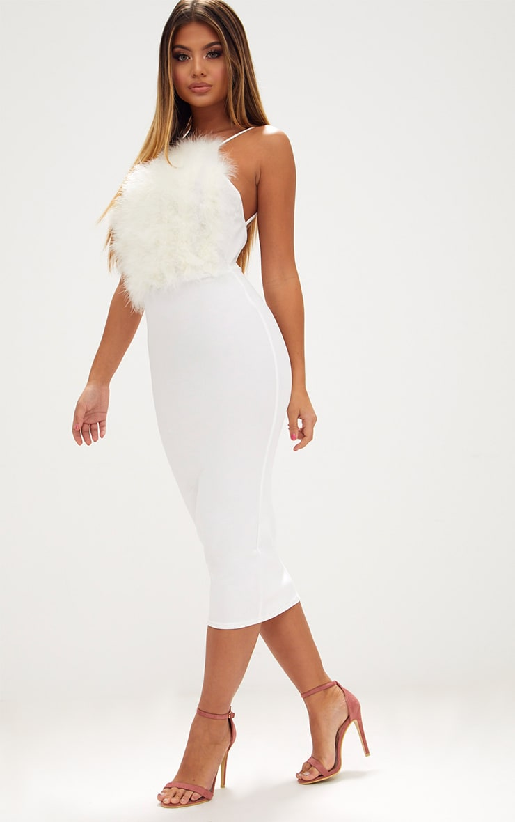 White Feather Bust Strappy Midi Dress 4