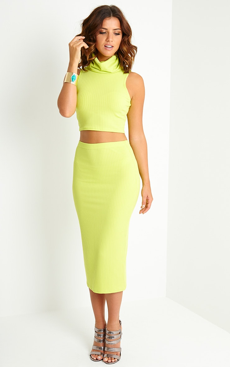 Lacey Lime Ribbed Midi Skirt 1